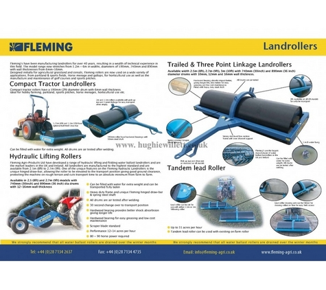 Fleming Ballast Land rollers For Compact Tractors (4ft, 5ft, 6ft, 8ft and 10ft )